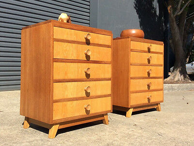 PAIR Danish Modern MID CENTURY Solid ASH / OAK Bedside Tables RETRO Night Stands