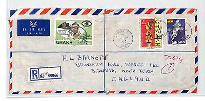 BT114 1977 Ghana *DUNKWA T* CDS Registered Air Mail Cover FRANKED BOTH SIDES