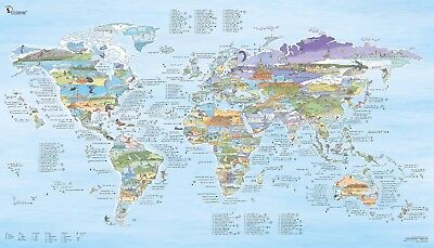 Kite Surfing World Map Large Wave Travel Guide poster art gift