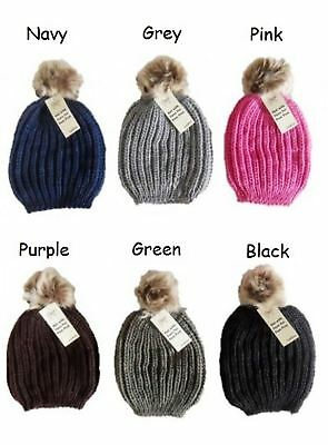 Ladies Knitted Cable Beanie PomPom Winter Hat