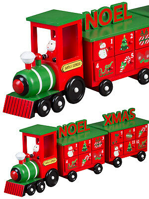 Christmas Train Wooden Advent Calendar Decoration Kids Childrens Traditional