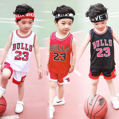 HOT-Kids-Baby-Boys-Girls-23-Michael-Jordan-Bulls-Basketball-Jerseys-Short-Suits