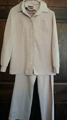 Womens True Vintage 60s 70s Pink White UGLY Leisure Pant Suit Matched 2-PC Set