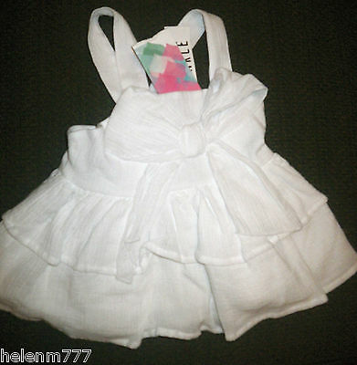 White Cotton Size 0 Crinkle Layered Bow Front Cross Adj. Strap Party Lined Top