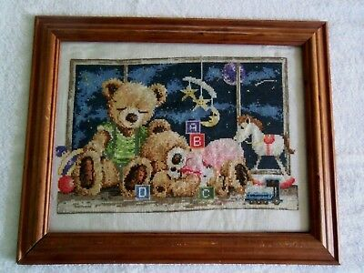 Cross Stitched Picture For Child's Room, 2 Sleeping Bears, Handmade