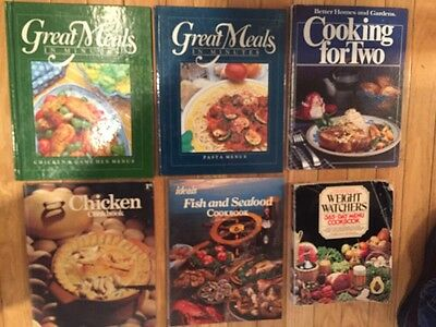 Lot 6 COOKBOOKS Great Meals Minutes, Weight Watchers, For Two, Seafood, Chicken