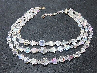 Vintage Mid Century Austrian Clear Faceted Crystal 3 Strand Choker Necklace EXC