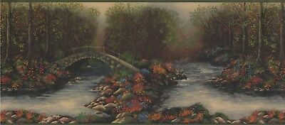 "5803310 Green Woods River Lodge 15' x 10 1/4"" Pre-Pasted Wallpaper Border"