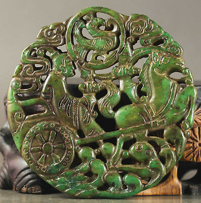 Old Chinese natural jade hand-carved horse and man pendant NO.B082