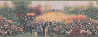 "30884110 Thomas Kinkade ""Garden Party"" 15' x 9"" Pre-Pasted Wallpaper Border"