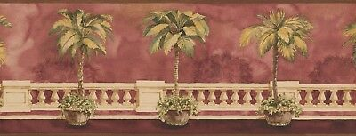 "BB75967L Architectural Palm Tree 15' x 9"" Pre-Pasted Wallpaper Border"