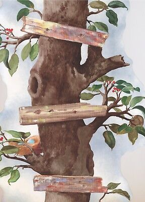 "BT2858B Stylish Cherry Tree Vertical Forest Flowers 15' x 21"" Wallpaper Border"