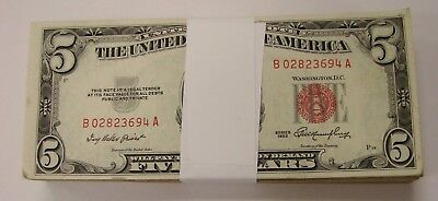 Mixed Lot of (100) 1953/1963 Red Seal $5 US Notes - Avg. Circ. / VG+ Condition
