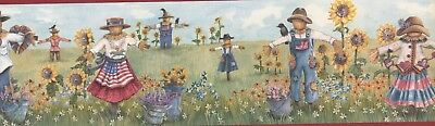 "CUP3373 Scarecrows & Sunflowers 15' x 7 1/4"" Pre-Pasted Wallpaper Border"