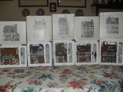 Dept 56 Dickens Village - All 7 original 1984 shops, plus green pale Church,