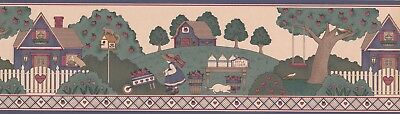 "3015004B Country Cottage in Apple Orchard 15' x 7"" Pre-Pasted Wallpaper Border"