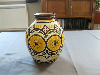 Gros Vase Art Deco Henriot Quimper N°78 Decor Geometrique
