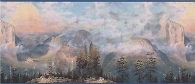 "30884020 Thomas Kinkade-Misty Yosemite Valley Scene 15'x10.5"" Wallpaper Border"