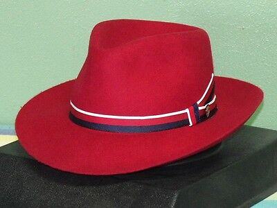 STETSON AVIATRIX AGENT CARTER RED FEDORA HAT MARVEL PEGGY Size L NEW HTF