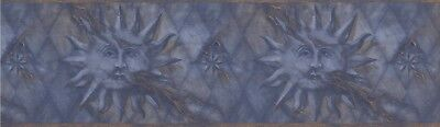 "63296530 Diamond Sun Face Navy Gold 15 'x 7"" Pre-Pasted Wallpaper Border"