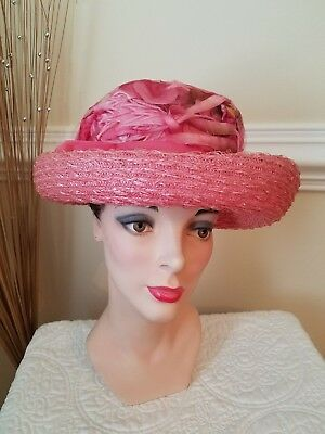 Women's Vintage Millinery Flowers Straw Hat with Curved Brim UNION MADE