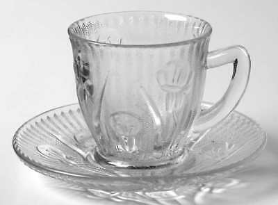Jeannette Glass IRIS CLEAR Demitasse Cup & Saucer 1752819