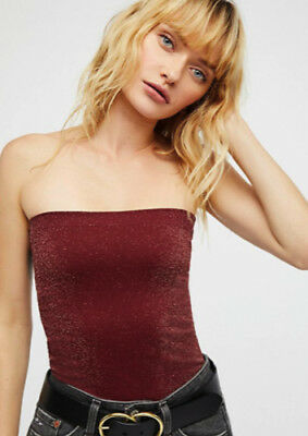 2cd07f26ad NEW Free People Intimately Seamless Sparkle Tube Top Wine Sz XS S-M L  38.40