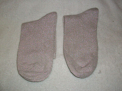 Two (2) Pairs Womans / Ladies /  Girls Silver Gliter  Ankle Socks Size 4-8 New