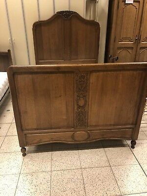 Antique Oak French 4 Ft Bed Frame With Base