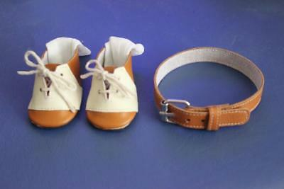 Leather Oxford shoes for Effanbee Skippy Doll with matching belt