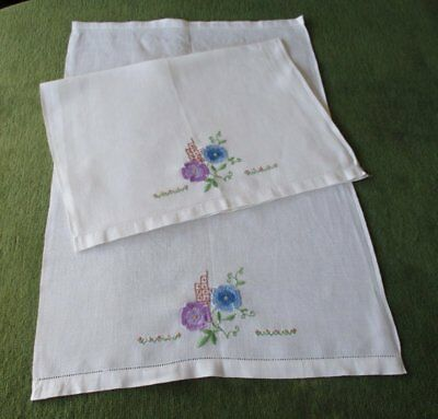 PR.ANTIQUE HUCKABACK HAND GUEST TOWELS with EMBROIDERED FLOWERS