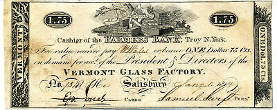 Obsolete Currency Troy Ny Farmer's Bank 1814 Vermont Glass Factory $1.75 Note