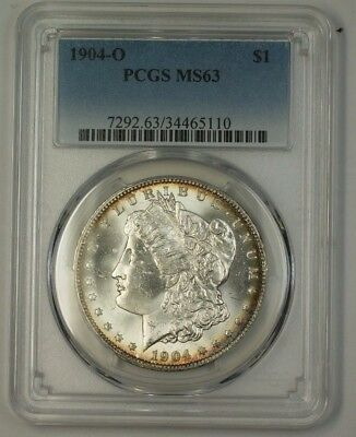1904-O US Morgan Silver Dollar $1 Coin PCGS MS-63 Great Luster (17)