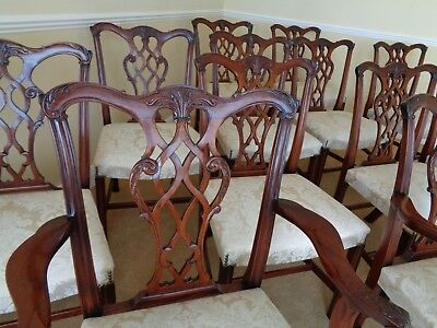 12 Frank Hudson Harrods Antique Style Mahogany Chippendale Dining Chairs