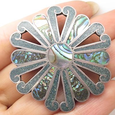 Vtg Mexico 925 Sterling Silver Abalone Shell Floral Pin Brooch Pendant