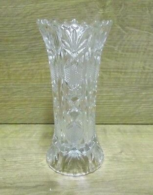 Vintage Sawtooth Rim Cut Glass Vase - 162mm Tall