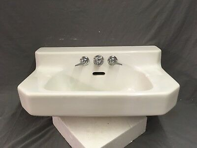 Vtg Mid Century Art Deco Clipped Corner White Porcelain Ceramic SInk Old 763-17E