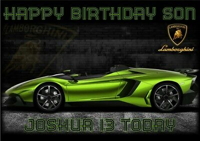 personalised birthday card Lamborghini sports car any name/age/relation
