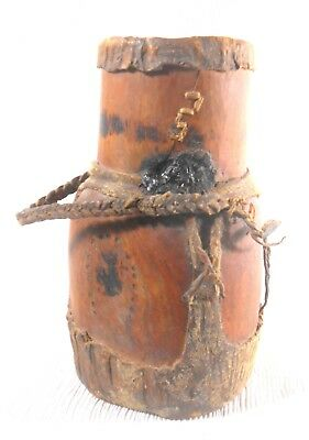 Antique African Honey Pot Container - Wood / Leather / Reptile Kenya Hand Carved