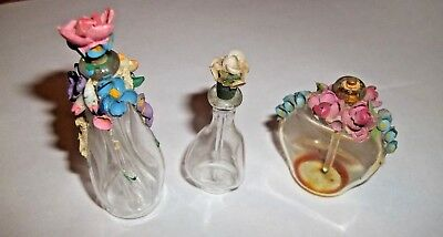 Vintage Lot Of 3 Miniature Perfume Bottle With Ceramic Floral Top Stoppers