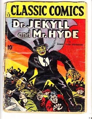 Classic Comics 13:(1943):Dr Jekyll & Mr. Hyde:Orig:FREE to combine: Fair