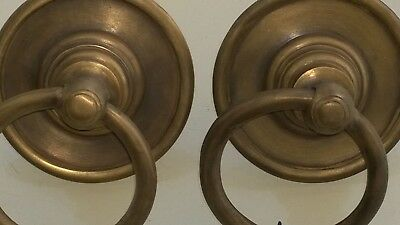 2 handle ring pull solid brass heavy old vintage asian style DOOR 7.5 cm bolt B