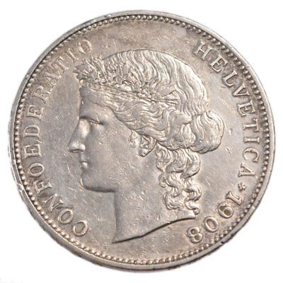 [#21805] SWITZERLAND, 5 Francs, 1908, Bern, KM #34, AU(50-53), Silver, 37, 25.00