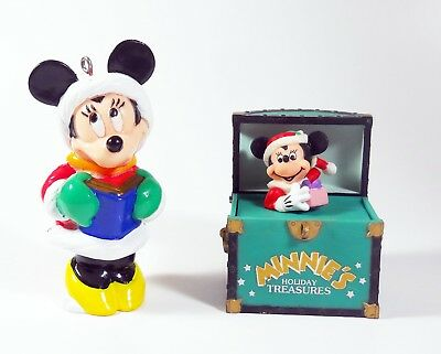 Minnie Mouse (2) Lot of Vintage Christmas Ornaments Disney Excellent