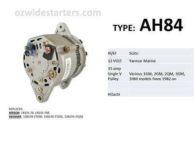 Yanmar alternator suit various 1GM, 2GM, 2QM, 3GM, 3HM models from 1975 on