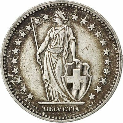 [#33280] SWITZERLAND, 2 Francs, 1945, Bern, KM #21, AU(50-53), Silver, 27.4