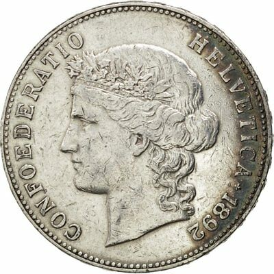 [#27349] SWITZERLAND, 5 Francs, 1892, Bern, KM #34, EF(40-45), Silver, 37, 24.99