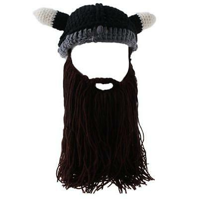 Men's Wool Beanie Viking Beard Face Mask Crochet Winter Ski Cosplay Caps Hat J