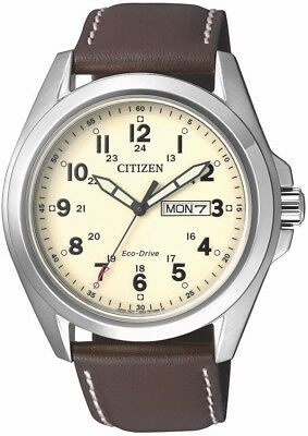 Citizen Eco-Drive AW0050-15A. Steel Leather Strap Mens Watch. Classic Look.