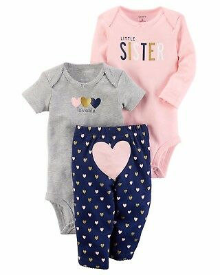 NEW NWT Carters Little Sister 3 Piece Set 3 or 6 Months Bodysuits and Leggings